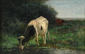 Koeien aan de Noordberg. Olieverf op doek, H.A. van Ingen. Particuliere collectie