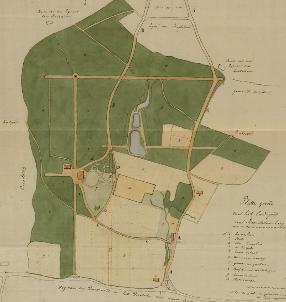 Een plattegrond van de Hemelse Berg en Pietersberg (tot 1847 onderdeel van de Hemelse Berg) met het lanenplan als aangelegd door de familie Van der Hoop (rond 1735).