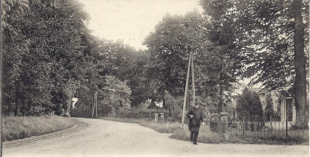 """Rechts de VannBorsselenweg en op de achtergrond villa """"Valkenburg""""."""