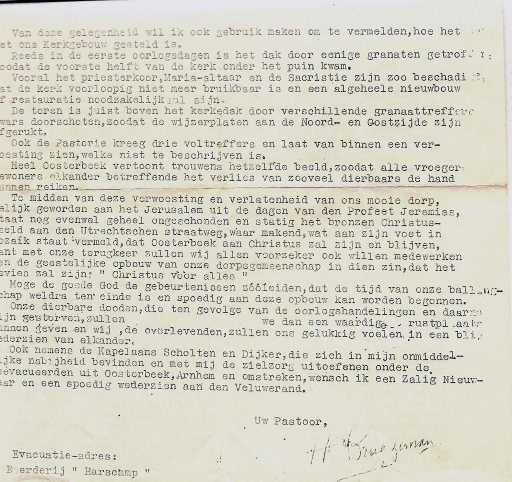 """Brief van pastoor Bruggeman aan zijn parochianen """"in ballingschap""""."""