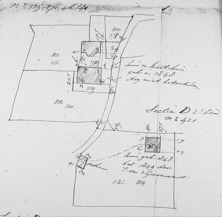 """Tekening bij de kadastrale legger uit 1848 van het nieuw gebouwde """"Pietersberg"""" en """"Otium""""."""