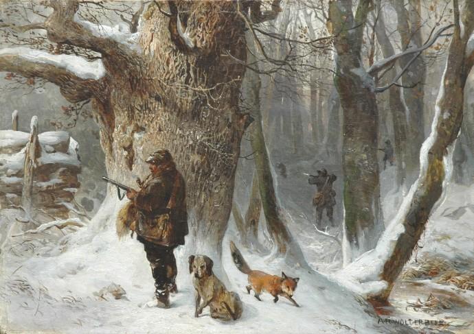 Een landschapje met een intelligenter vos dan de jager en de jachthond.
