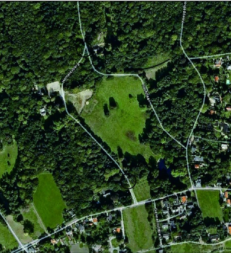 Luchtfoto van het centrale deel van het landgoed de Hemelse Berg, zonder huis. Foto rond 2000