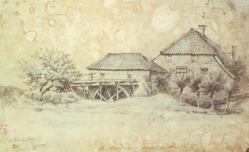 """De molen van Hooijer ook wel aangeduid als de molen van """"vrouw Gerritsen""""."""