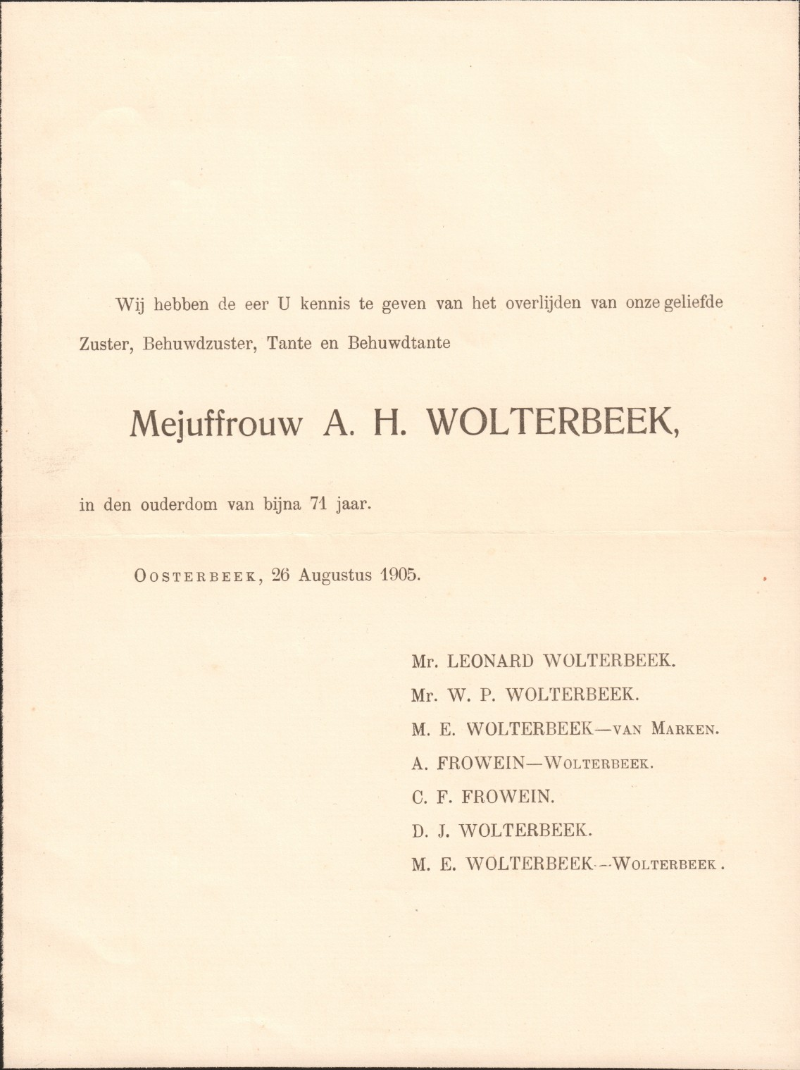 Het overlijdensbericht van Anna Wolterbeek