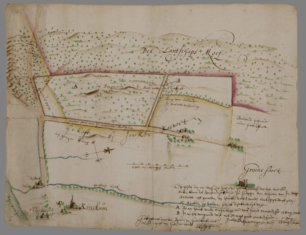 Kaart van Renkum met Beekdal en klooster. Collectie Gelders Archief Arnhem. Cartograaf Nicolaes van Geelkercken (1585- 1656)