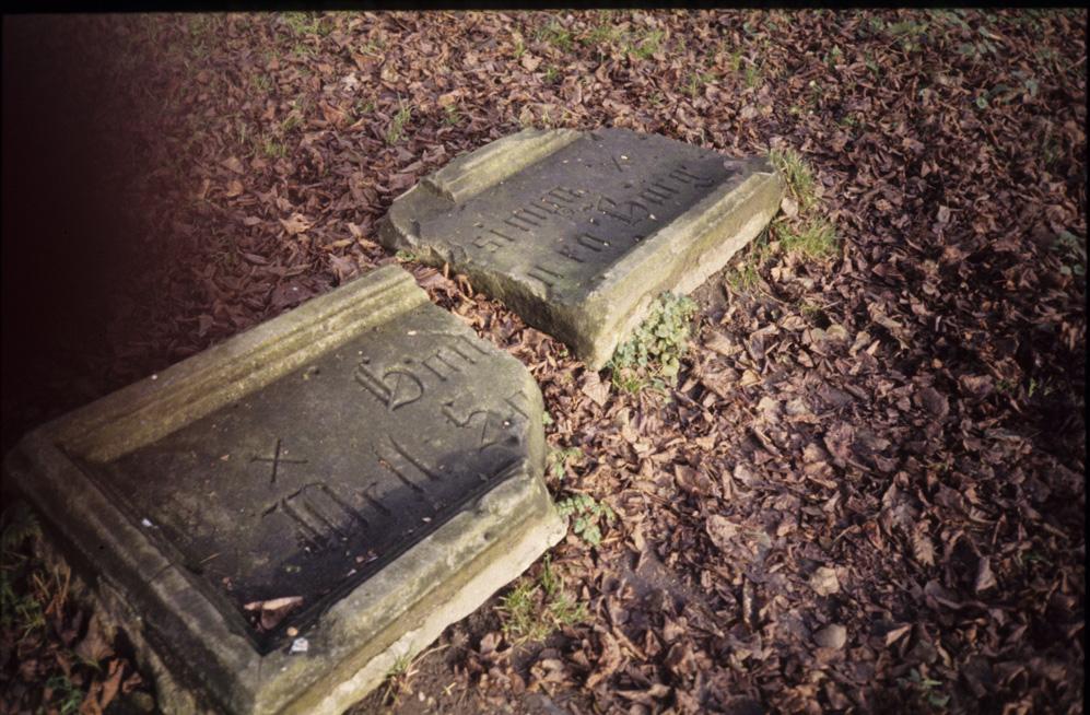 """De door J.F.M. Goossens gevonden gevelsteen van het huis """"Sonnenbergh"""". Gevonden in de slotgracht van het verwoeste kasteel Doorwerth. Het opschrift luidt: """"God-si-mijn-Well-Son-en-Borg""""."""