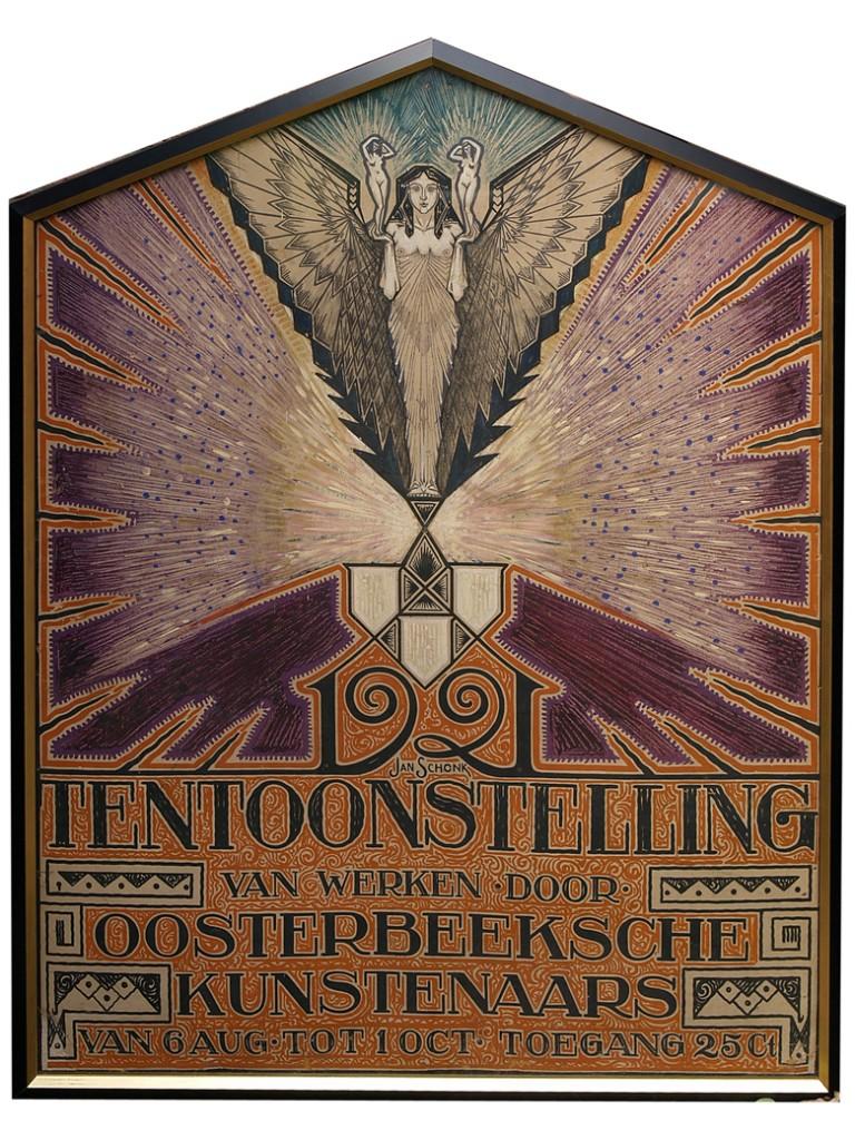 """De aankondiging van de eerste expositie in """"Uilengeluk"""", uitgevoerd door Jan Schonk in 1921"""