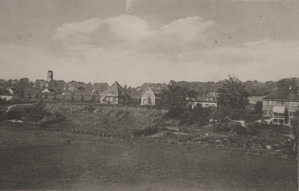 """Zicht vanaf de spoordijk op de Benedendorpsweg. Geheel links het huis op nummer 4, gebouwd in 1916 met links daarvan """"Ora et Labora"""". De twee meest links gelegen panden staan nu op nummer 9 en 11. Het rietgedekte huis links daar weer van, op de oosthoek van de Rosandeweg, is nog niet aanwezig. Het werd gebouwd in 1930."""