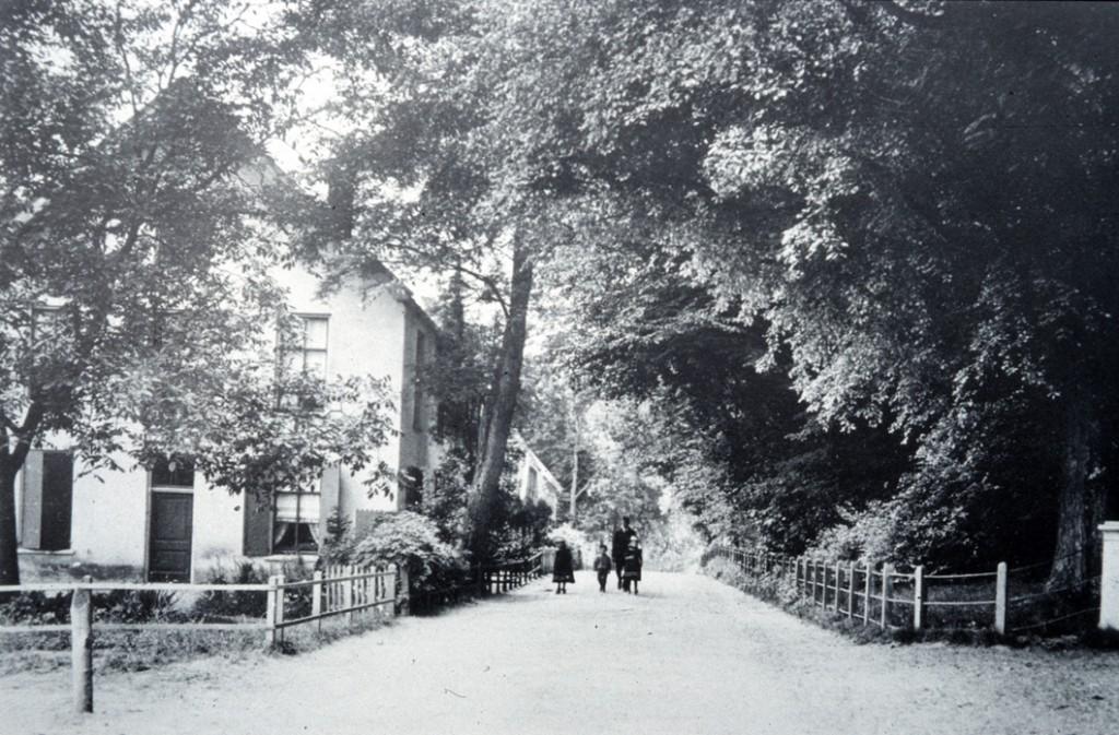 """Links het huis van de huisschilder Hilhorst met daarachter een verdwenen boerderijtje en, op de achtergrond links, de voorgevel """"van """"de Witte Poort"""". Rechts de ingang van """"Transvalia""""."""
