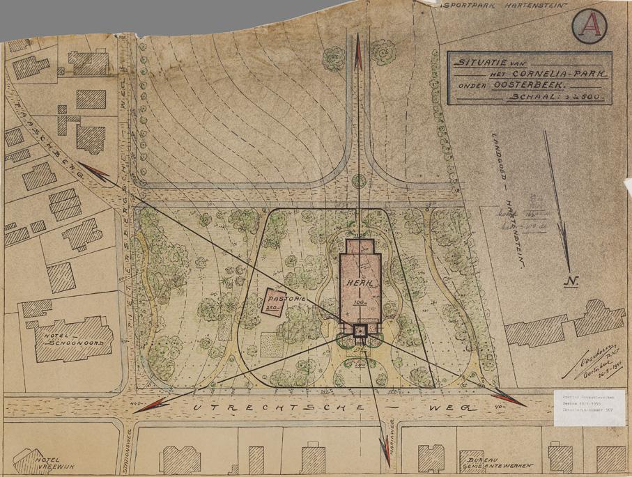 """Op een ontwerp van Samuel Voorhoeve van 25 mei 1941worden de plannen die de gemeente Renkum heeft met het Corneliapark duidelijk. De Talsmalaan en de A. van Oudenallenstraat krijgen vorm. Bij de voorgenomen bouw van de nieuwe Hervormde Kerk (later de Goede Herderkerk) zijn de villa's """"Oosterpark"""" en """"Westerpark"""" verdwenen"""