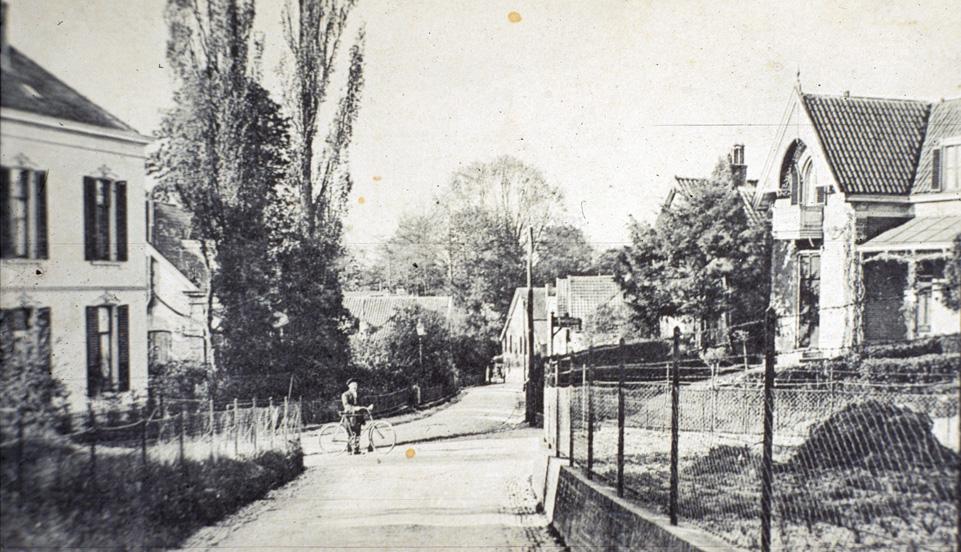 """Vanaf de Jagerskamp zicht op het geheel links gelegen """"Stadtwijk"""" op Weverstraat 118, gebouwd in 1881."""