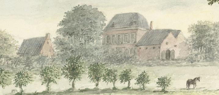"""Herberg-brouwerij """"De Bock"""", uitsnede uit aquarel van D.A. Clemens, 1821"""