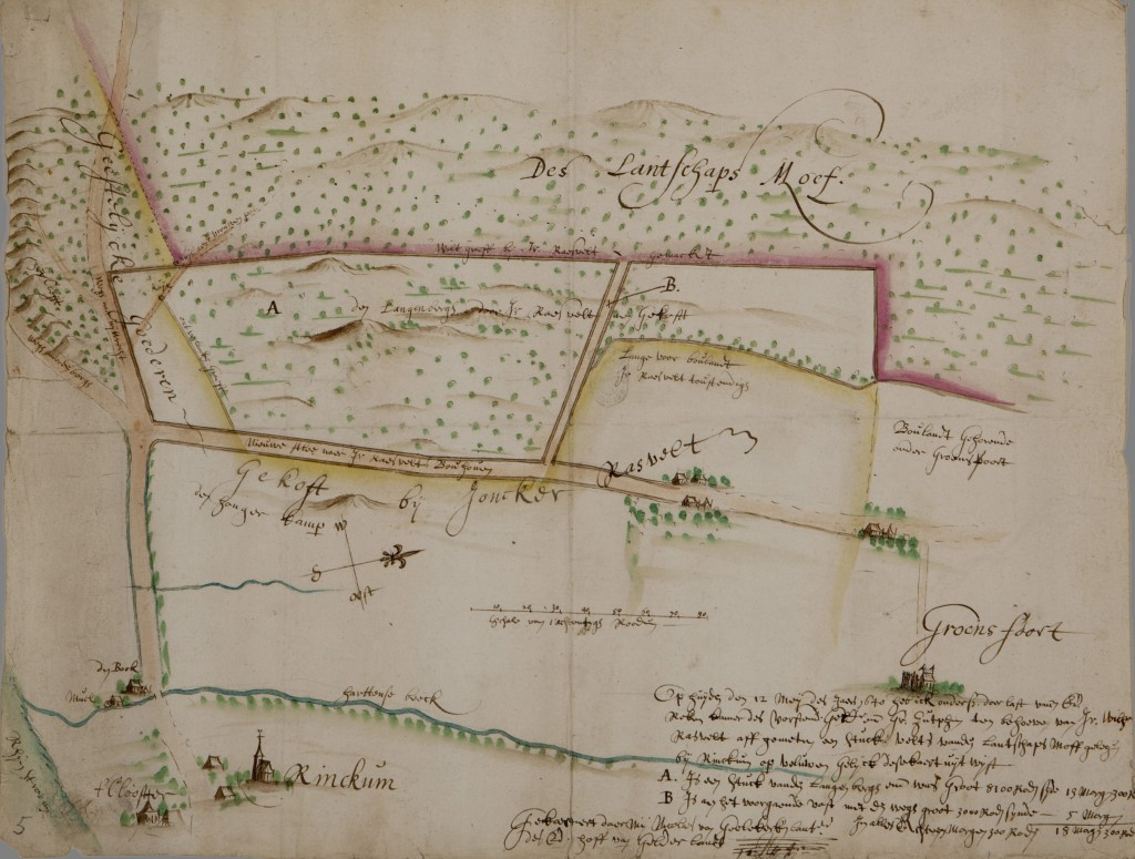 Kaart van het Renkums Beekdal, Nicolaes van Geelkercken, 1640 Gelders Archief Arnhem inv.nr. 0012-K257