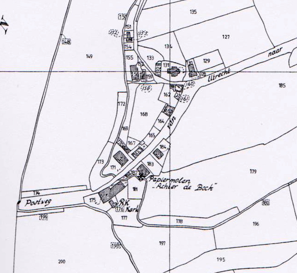 Detail van een kadastrale kaart uit 1832 met de door Van Roest beschreven panden.