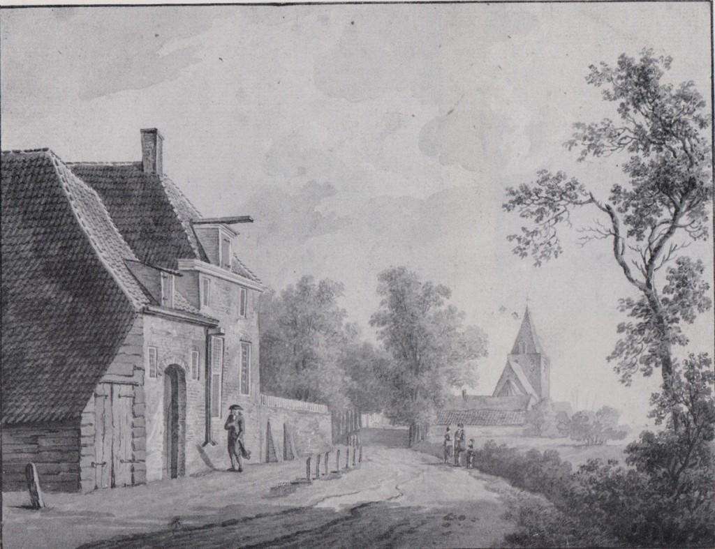 De in 1823 afgebroken oude pastorie van de Hervormde kerk. Aquarel, particuliere verzameling.