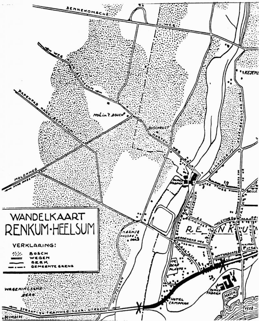 Op deze uitsnede van een kaartje, destijds uitgegeven door boekhandel Manasse te Renkum, is met twee kruisjes aangegeven het weggedeelte dat hier besproken wordt.