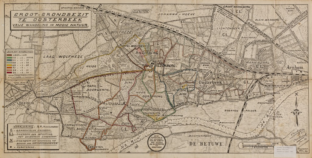 Kaart van het Renkums wandelgebied, gemaakt in opdracht van Cornelis Ogterop ten behoeve van de gasten van één van zijn hotels.
