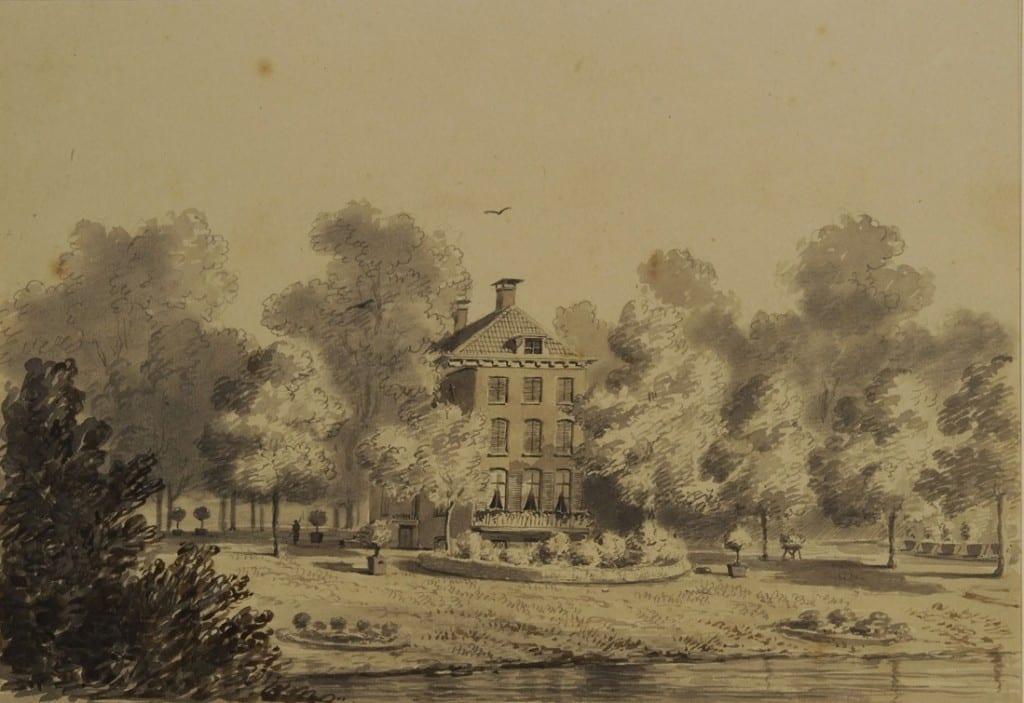 """Een 19 de eeuwse tekening van onbekende hand weergevende het huis """"Cortenbergh"""" rond 1835. Dit huis werd door Crommelin vervangen door een nieuwe volumineuze villa, het latere paleis van koningin Emma."""