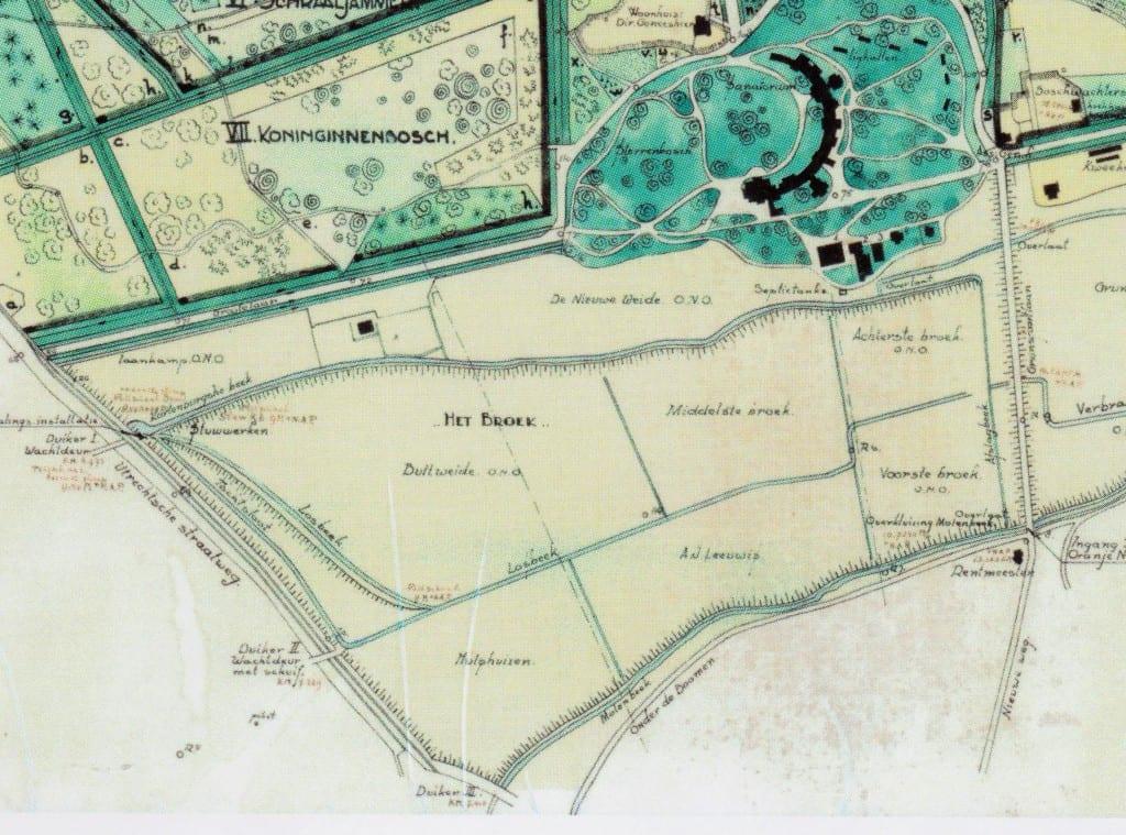 """Op een detail van de """"Boschkaart 1932"""" worden de drie duikers onder de Rijksstraatweg door weergegeven."""