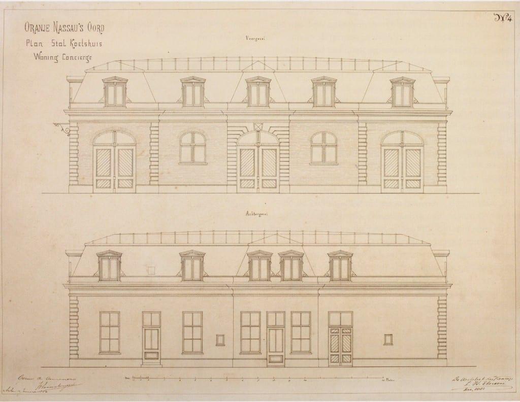 Het plan van Eberson voor een restauratie van het koetshuis. (Collectie Koninklijk Huisarchief, `s Gravenhage.