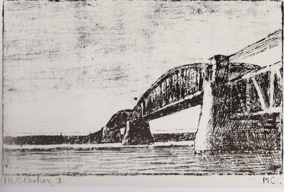 De eerste ets van Mauk Escher, de spoorbrug over de Rijn bij Oosterbeek © The M.C. Escher Company B.V. -Baarn-Holland